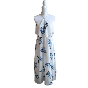 onetheland▪️Blue Flower Print Maxi Dress
